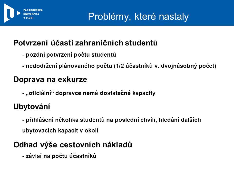 Problémy, které nastaly Potvrzení účasti zahraničních studentů - pozdní potvrzení počtu studentů - nedodržení plánovaného počtu (1/2 účastníků v. dvoj