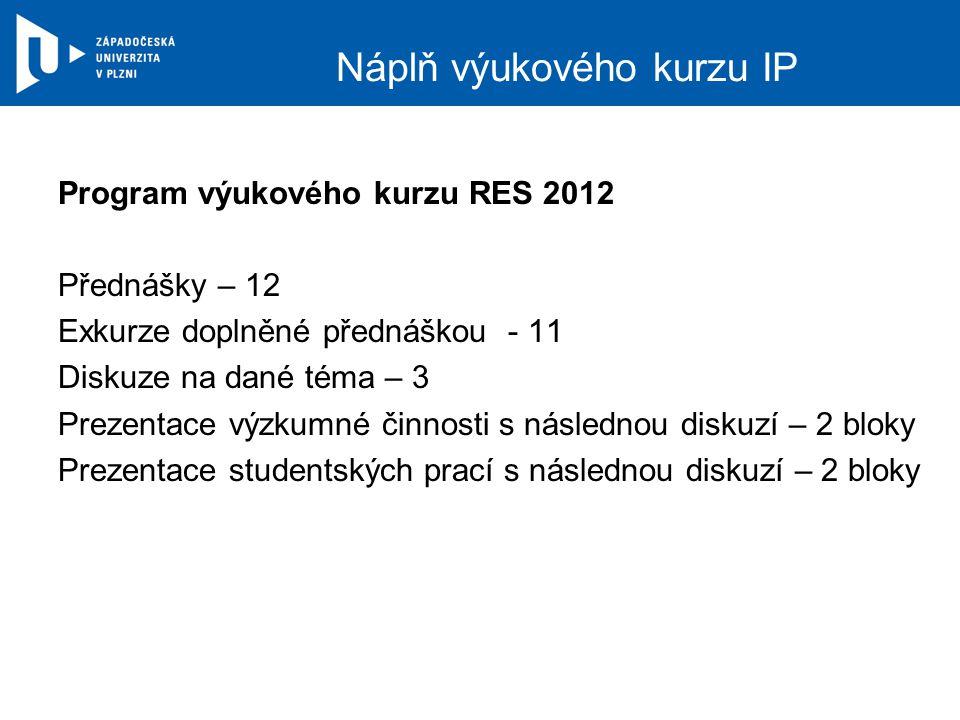 Náplň výukového kurzu IP Program výukového kurzu RES 2012 Přednášky – 12 Exkurze doplněné přednáškou - 11 Diskuze na dané téma – 3 Prezentace výzkumné činnosti s následnou diskuzí – 2 bloky Prezentace studentských prací s následnou diskuzí – 2 bloky