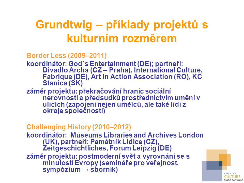 Grundtwig – příklady projektů s kulturním rozměrem Border Less (2009–2011) koordinátor: God´s Entertainment (DE); partneři: Divadlo Archa (CZ – Praha)