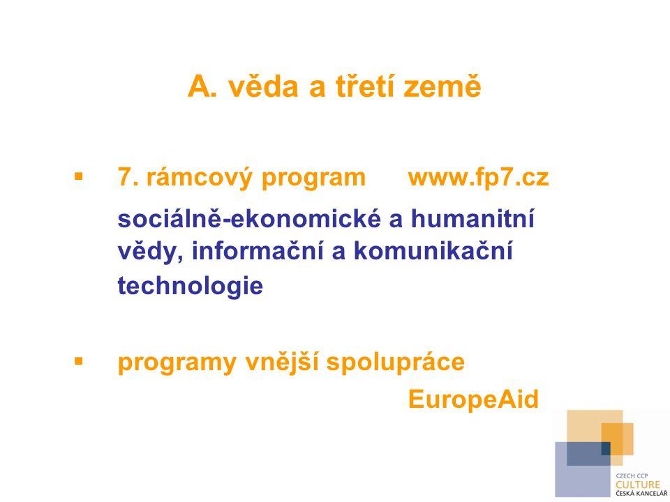 A. věda a třetí země  7. rámcový programwww.fp7.cz sociálně-ekonomické a humanitní vědy, informační a komunikační technologie  programy vnější spolu