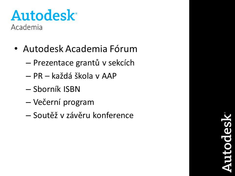 Autodesk Academia Fórum – Prezentace grantů v sekcích – PR – každá škola v AAP – Sborník ISBN – Večerní program – Soutěž v závěru konference