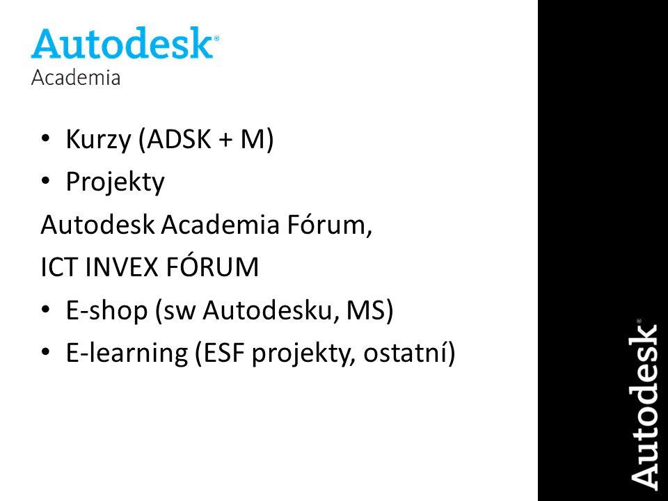 Kurzy (ADSK + M) Projekty Autodesk Academia Fórum, ICT INVEX FÓRUM E-shop (sw Autodesku, MS) E-learning (ESF projekty, ostatní)