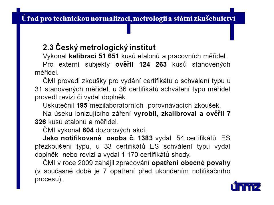 Úřad pro technickou normalizaci, metrologii a státní zkušebnictví 2.3 Český metrologický institut Vykonal kalibraci 51 651 kusů etalonů a pracovních m