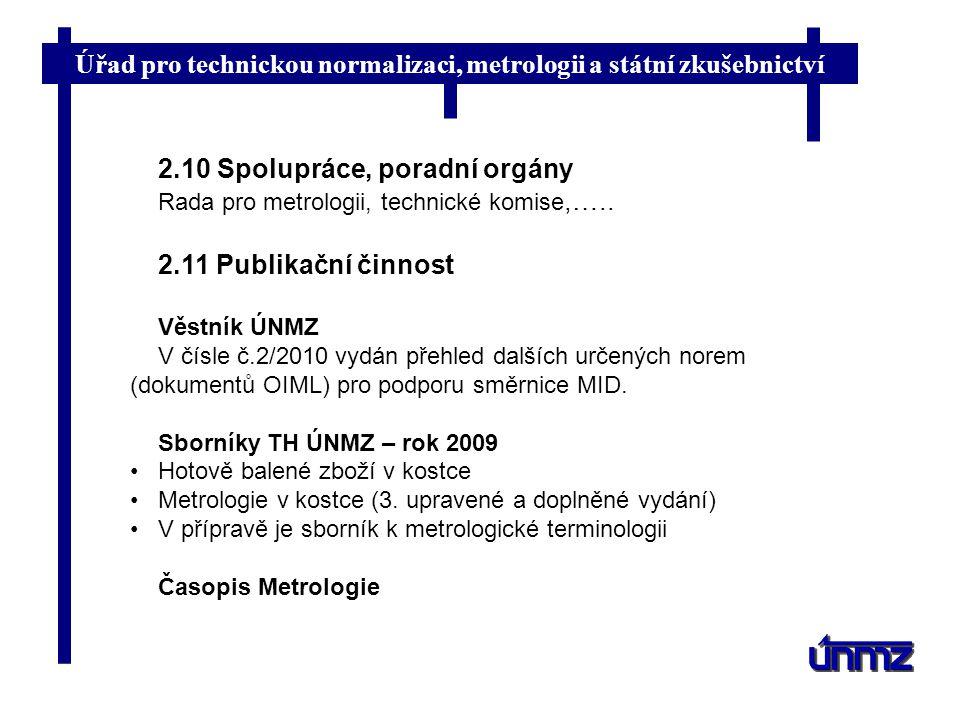 Úřad pro technickou normalizaci, metrologii a státní zkušebnictví 2.10 Spolupráce, poradní orgány Rada pro metrologii, technické komise,….. 2.11 Publi
