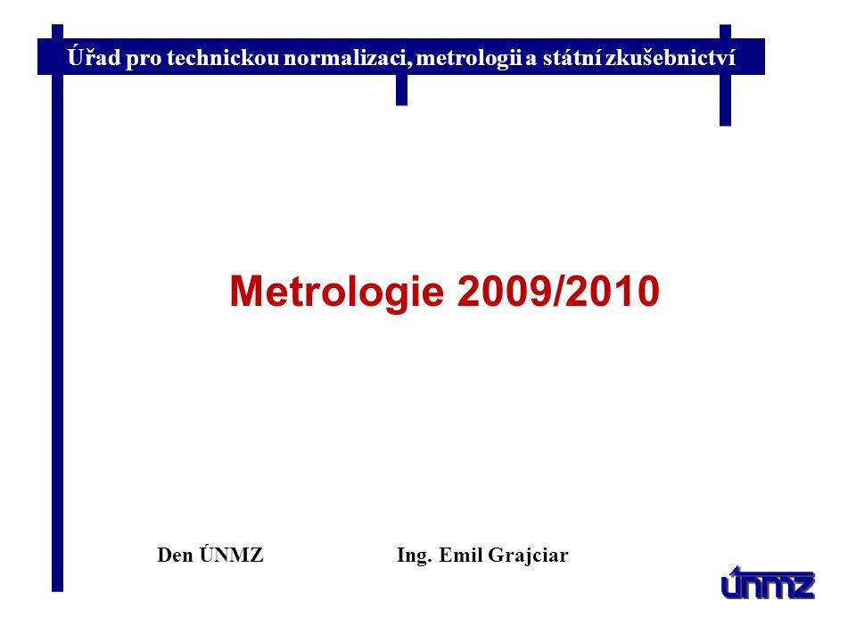 Úřad pro technickou normalizaci, metrologii a státní zkušebnictví Metrologie 2009/2010 Den ÚNMZIng. Emil Grajciar