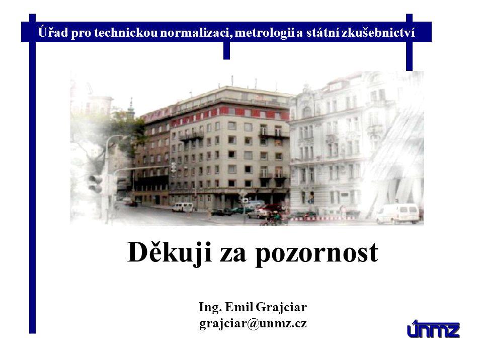 Úřad pro technickou normalizaci, metrologii a státní zkušebnictví Děkuji za pozornost Ing. Emil Grajciar grajciar@unmz.cz