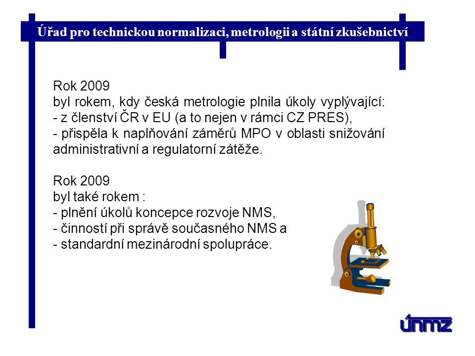 Úřad pro technickou normalizaci, metrologii a státní zkušebnictví Rok 2009 byl rokem, kdy česká metrologie plnila úkoly vyplývající: - z členství ČR v