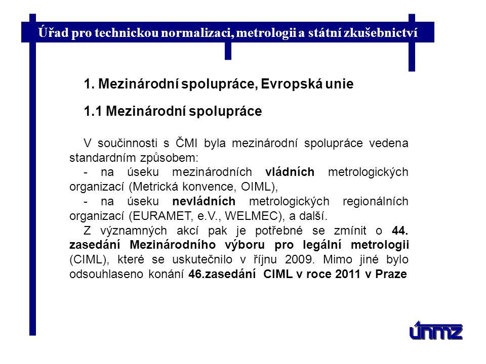 Úřad pro technickou normalizaci, metrologii a státní zkušebnictví 1. Mezinárodní spolupráce, Evropská unie 1.1 Mezinárodní spolupráce V součinnosti s