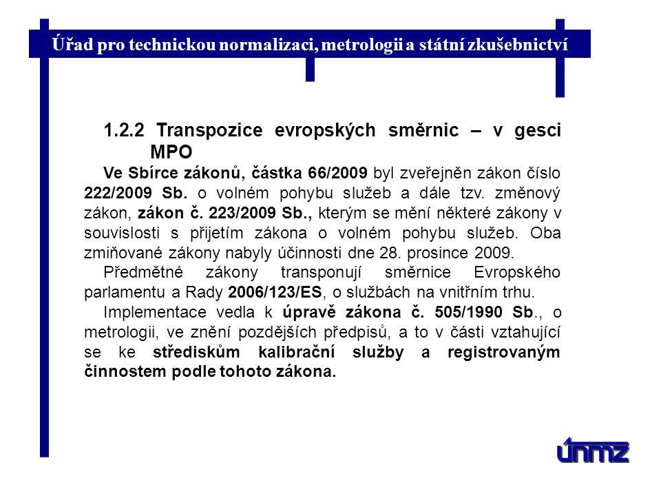 Úřad pro technickou normalizaci, metrologii a státní zkušebnictví 1.2.2 Transpozice evropských směrnic – v gesci MPO Ve Sbírce zákonů, částka 66/2009