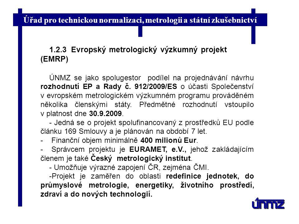 Úřad pro technickou normalizaci, metrologii a státní zkušebnictví 1.2.3 Evropský metrologický výzkumný projekt (EMRP) ÚNMZ se jako spolugestor podílel