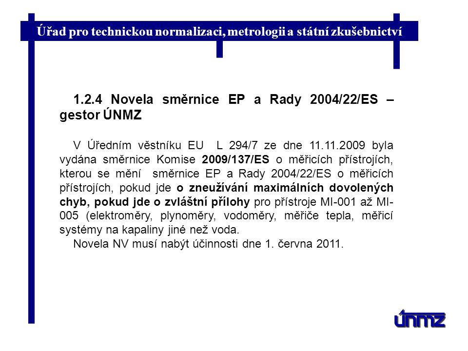 Úřad pro technickou normalizaci, metrologii a státní zkušebnictví 1.2.4 Novela směrnice EP a Rady 2004/22/ES – gestor ÚNMZ V Úředním věstníku EU L 294