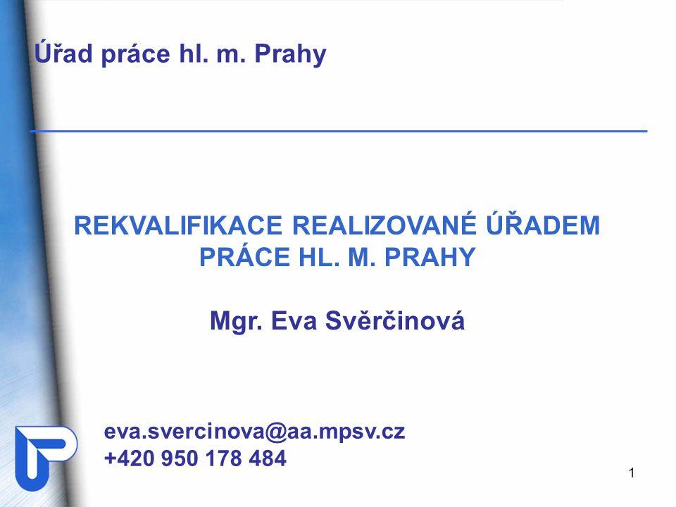 1 eva.svercinova@aa.mpsv.cz +420 950 178 484 REKVALIFIKACE REALIZOVANÉ ÚŘADEM PRÁCE HL. M. PRAHY Mgr. Eva Svěrčinová Úřad práce hl. m. Prahy