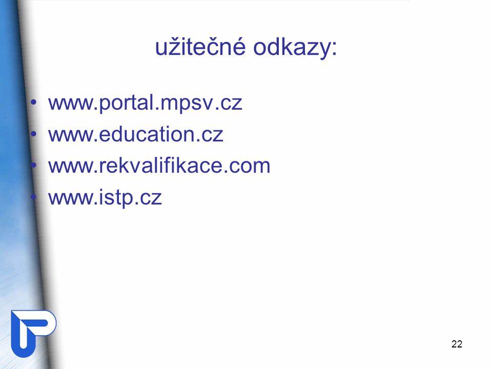 22 užitečné odkazy: www.portal.mpsv.cz www.education.cz www.rekvalifikace.com www.istp.cz