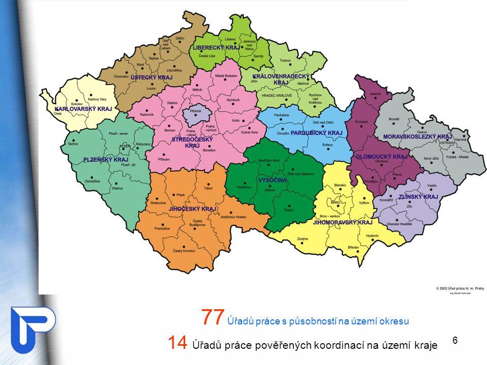 6 14 Úřadů práce pověřených koordinací na území kraje 77 Úřadů práce s působností na území okresu