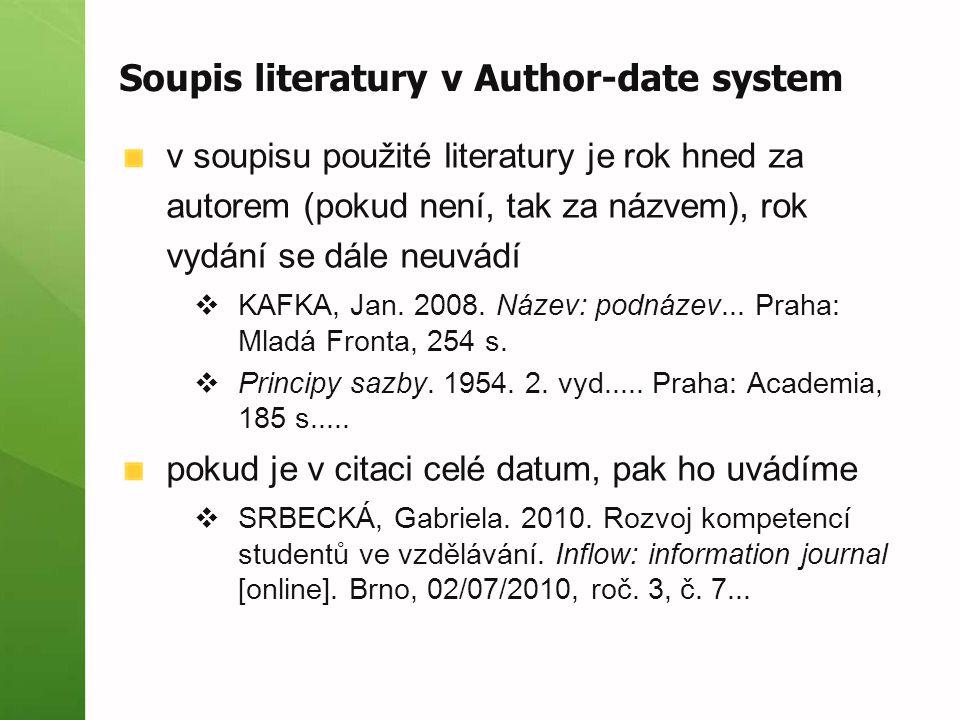 Soupis literatury v Author-date system v soupisu použité literatury je rok hned za autorem (pokud není, tak za názvem), rok vydání se dále neuvádí  K