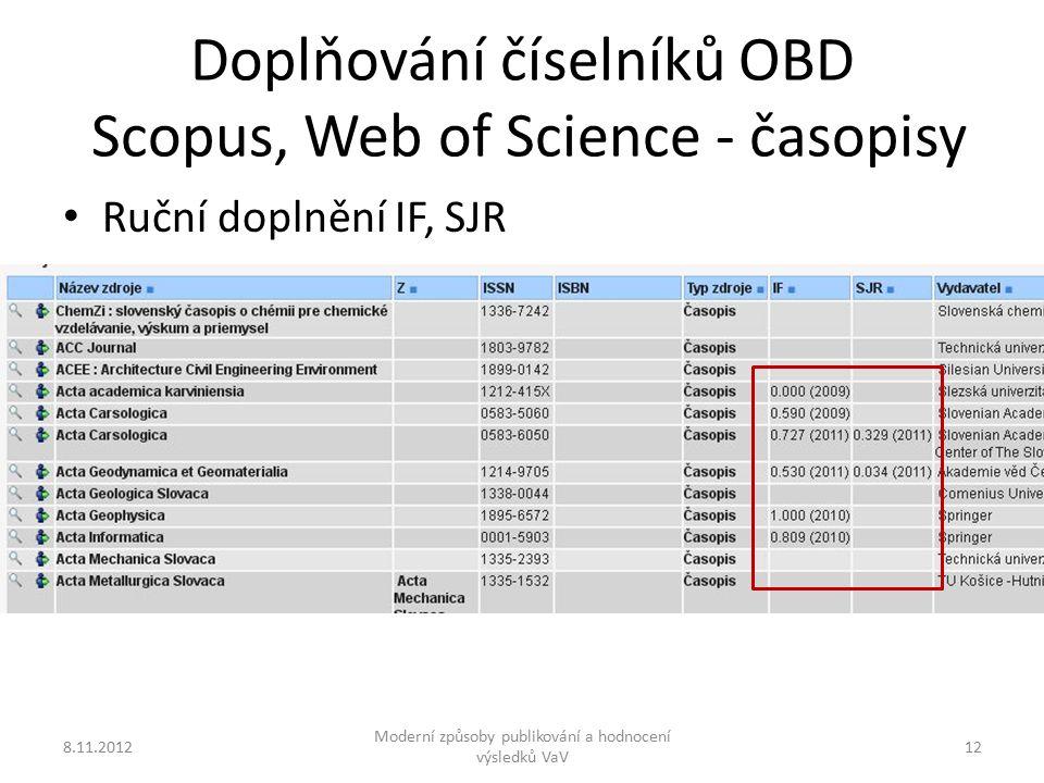 Doplňování číselníků OBD Scopus, Web of Science - časopisy 8.11.2012 Moderní způsoby publikování a hodnocení výsledků VaV 12 Ruční doplnění IF, SJR