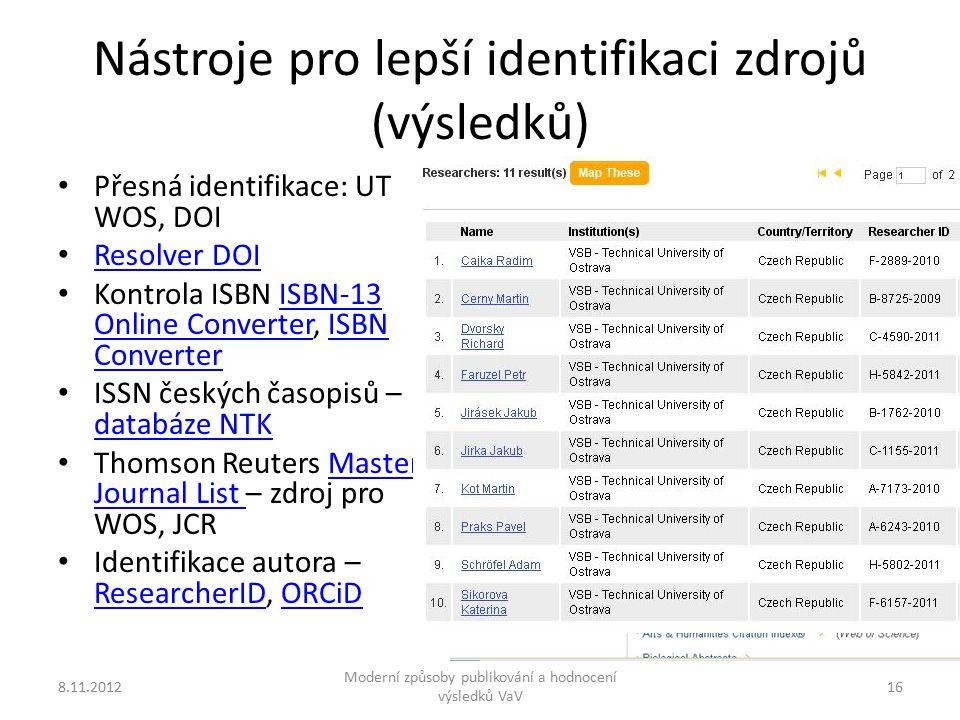 Nástroje pro lepší identifikaci zdrojů (výsledků) Přesná identifikace: UT WOS, DOI Resolver DOI Kontrola ISBN ISBN-13 Online Converter, ISBN ConverterISBN-13 Online ConverterISBN Converter ISSN českých časopisů – databáze NTK databáze NTK Thomson Reuters Master Journal List – zdroj pro WOS, JCRMaster Journal List Identifikace autora – ResearcherID, ORCiD ResearcherIDORCiD 8.11.2012 Moderní způsoby publikování a hodnocení výsledků VaV 16