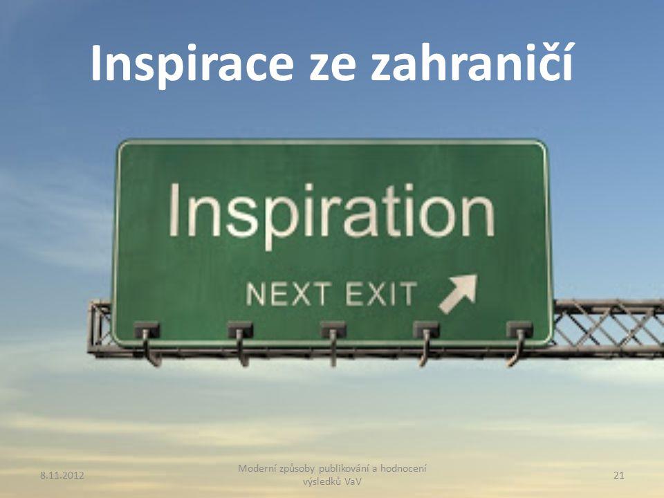 Inspirace ze zahraničí 8.11.2012 Moderní způsoby publikování a hodnocení výsledků VaV 21