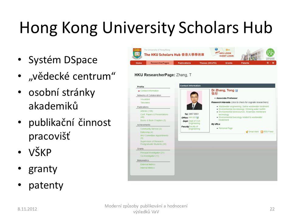 """Hong Kong University Scholars Hub Systém DSpace """"vědecké centrum osobní stránky akademiků publikační činnost pracovišť VŠKP granty patenty 8.11.2012 Moderní způsoby publikování a hodnocení výsledků VaV 22"""