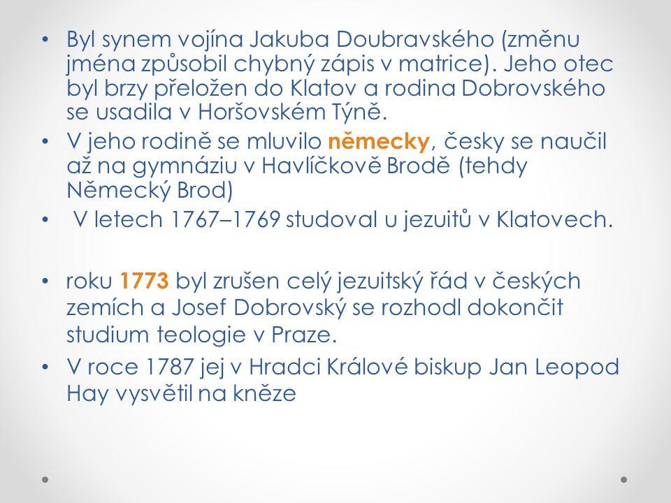 Byl synem vojína Jakuba Doubravského (změnu jména způsobil chybný zápis v matrice).