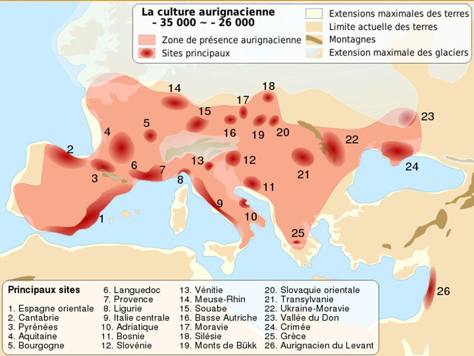 Aurignacien  První skutečně mladopaleolitická industrie vyrobená s největší pravděpodobností moderními lidmi.  Pojem aurignacen poprvé použili Henri