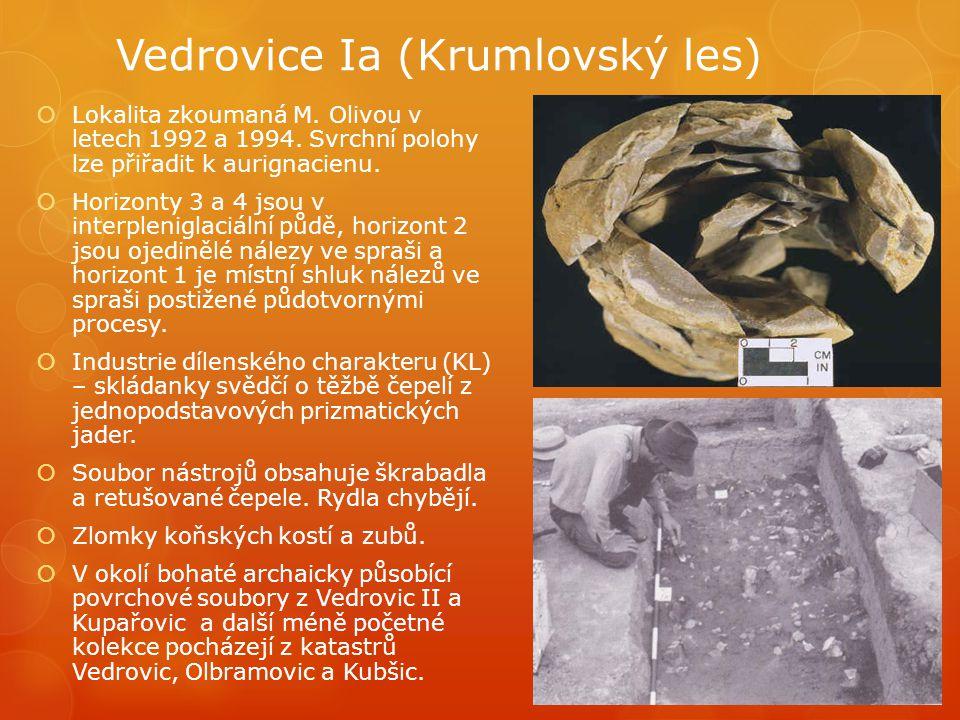 Vedrovice Ia (Krumlovský les)  Lokalita zkoumaná M. Olivou v letech 1992 a 1994. Svrchní polohy lze přiřadit k aurignacienu.  Horizonty 3 a 4 jsou v