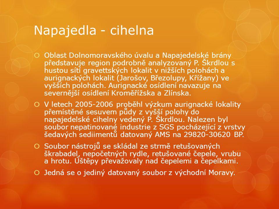 Napajedla - cihelna  Oblast Dolnomoravského úvalu a Napajedelské brány představuje region podrobně analyzovaný P. Škrdlou s hustou sítí gravettských