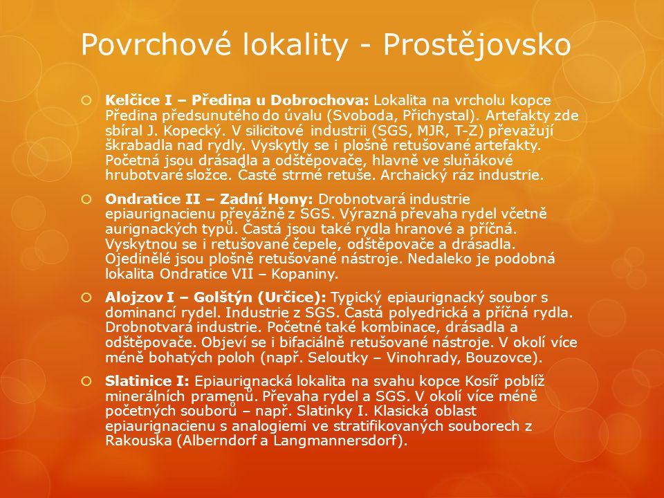 Povrchové lokality - Prostějovsko  Kelčice I – Předina u Dobrochova: Lokalita na vrcholu kopce Předina předsunutého do úvalu (Svoboda, Přichystal). A