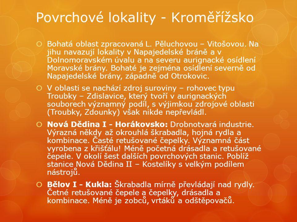 Povrchové lokality - Kroměřížsko  Bohatá oblast zpracovaná L. Pěluchovou – Vitošovou. Na jihu navazují lokality v Napajedelské bráně a v Dolnomoravsk