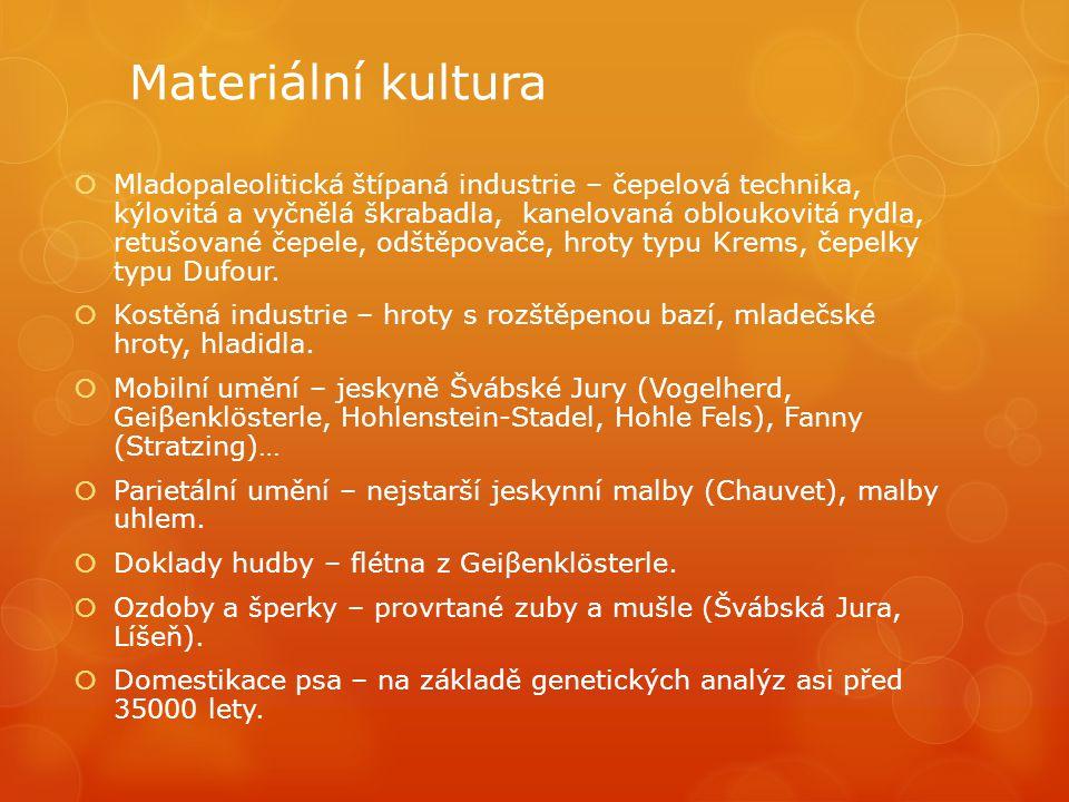 Materiální kultura  Mladopaleolitická štípaná industrie – čepelová technika, kýlovitá a vyčnělá škrabadla, kanelovaná obloukovitá rydla, retušované č