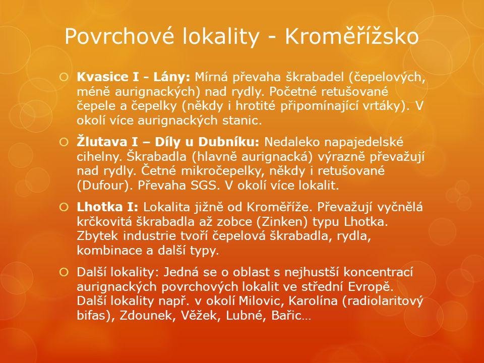 Povrchové lokality - Kroměřížsko  Kvasice I - Lány: Mírná převaha škrabadel (čepelových, méně aurignackých) nad rydly. Početné retušované čepele a če