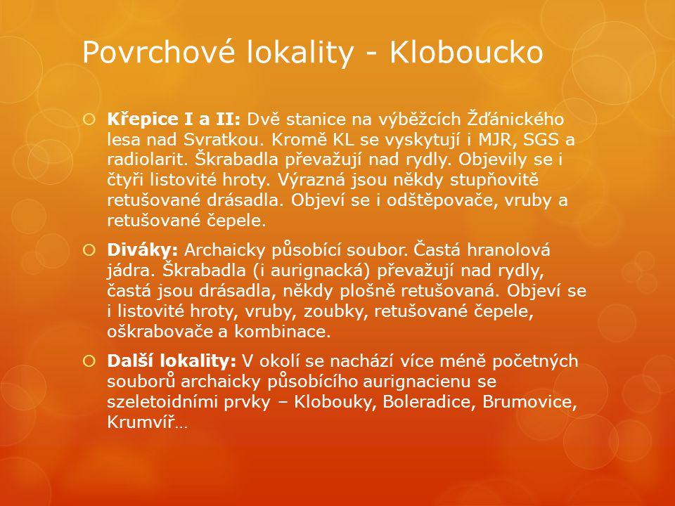 Povrchové lokality - Kloboucko  Křepice I a II: Dvě stanice na výběžcích Žďánického lesa nad Svratkou. Kromě KL se vyskytují i MJR, SGS a radiolarit.