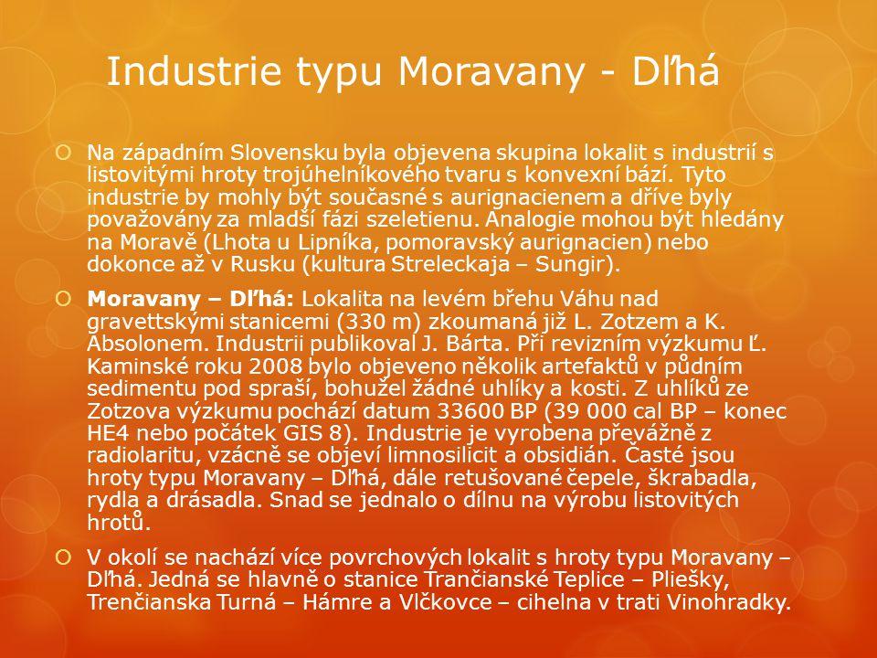 Industrie typu Moravany - Dľhá  Na západním Slovensku byla objevena skupina lokalit s industrií s listovitými hroty trojúhelníkového tvaru s konvexní