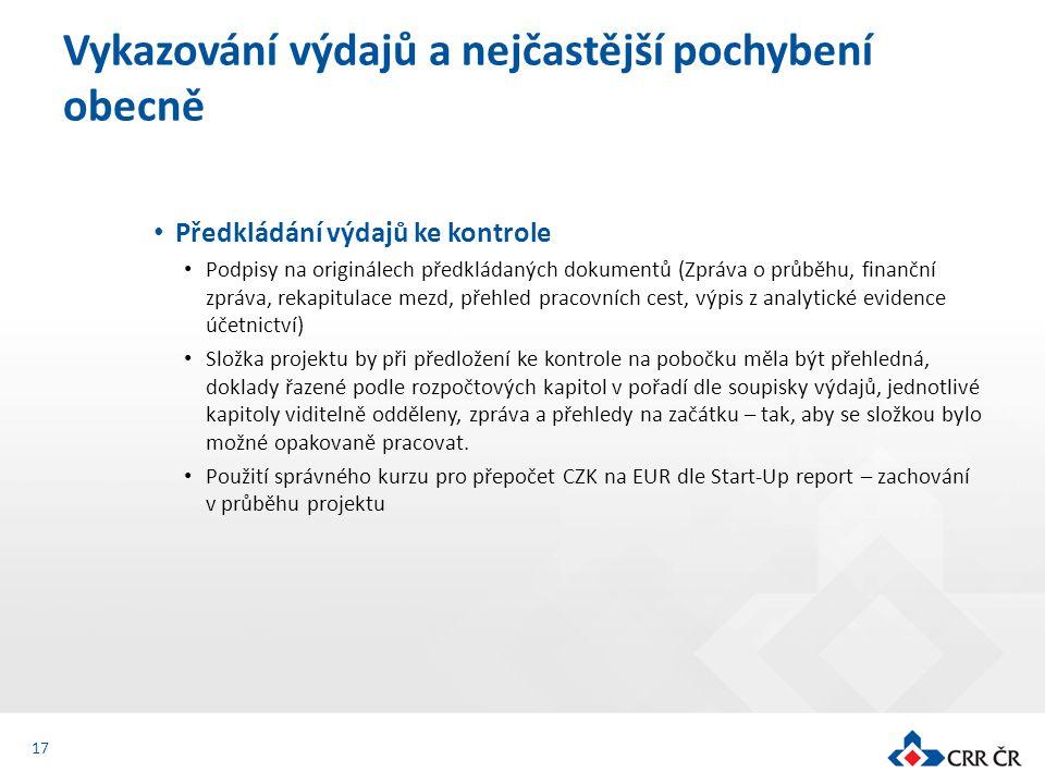 Předkládání výdajů ke kontrole Podpisy na originálech předkládaných dokumentů (Zpráva o průběhu, finanční zpráva, rekapitulace mezd, přehled pracovníc