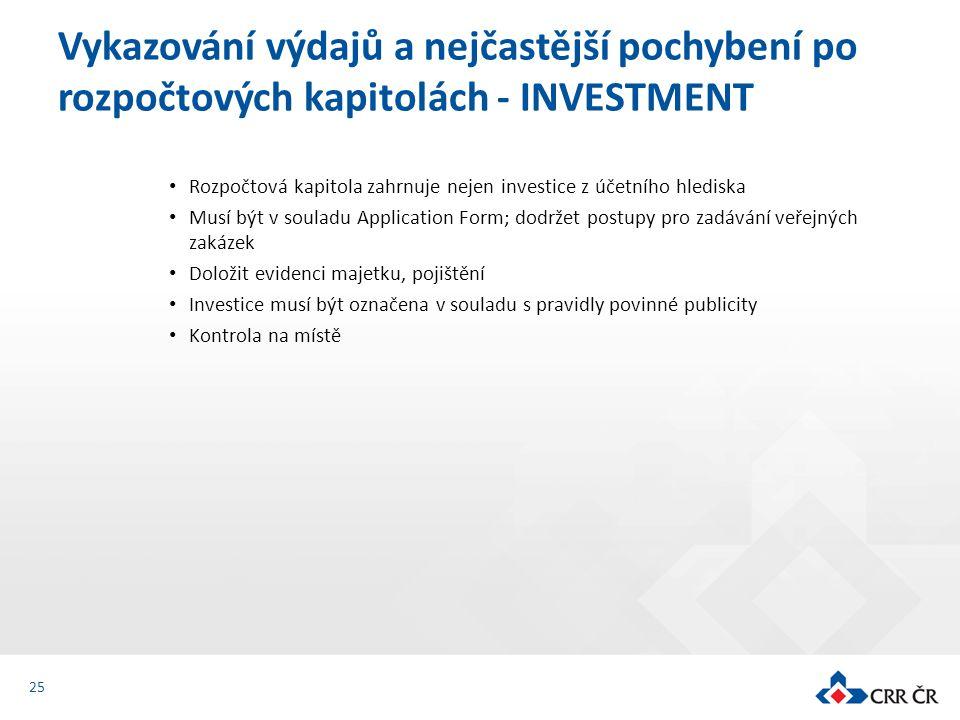 Rozpočtová kapitola zahrnuje nejen investice z účetního hlediska Musí být v souladu Application Form; dodržet postupy pro zadávání veřejných zakázek D