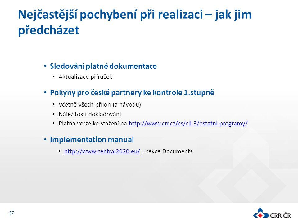 Sledování platné dokumentace Aktualizace příruček Pokyny pro české partnery ke kontrole 1.stupně Včetně všech příloh (a návodů) Náležitosti dokladován
