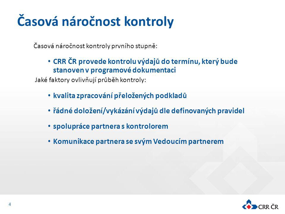 Časová náročnost kontroly prvního stupně: CRR ČR provede kontrolu výdajů do termínu, který bude stanoven v programové dokumentaci Jaké faktory ovlivňu