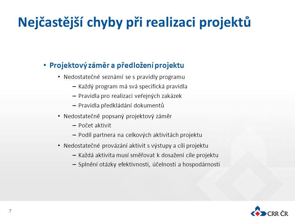 Projektový záměr a předložení projektu Nedostatečné seznámí se s pravidly programu – Každý program má svá specifická pravidla – Pravidla pro realizaci