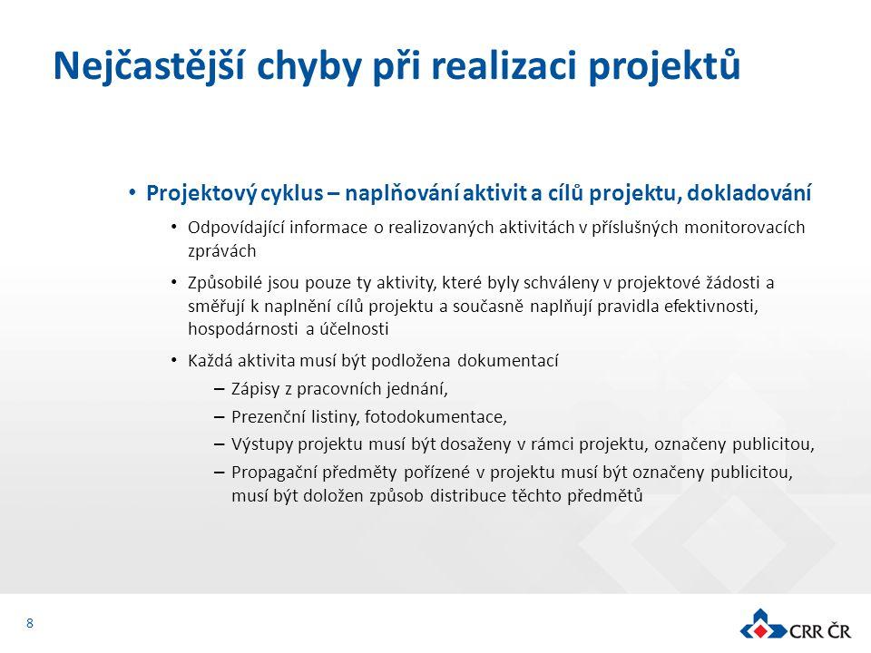 Projektový cyklus – naplňování aktivit a cílů projektu, dokladování Odpovídající informace o realizovaných aktivitách v příslušných monitorovacích zpr