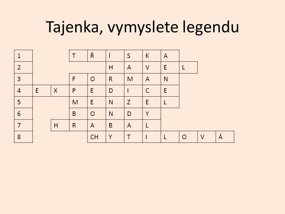 Tajenka, vymyslete legendu 1TŘÍSKA 2HAVEL 3FORMAN 4EXPEDICE 5MENZEL 6BONDY 7HRABAL 8CHYTILOVÁ