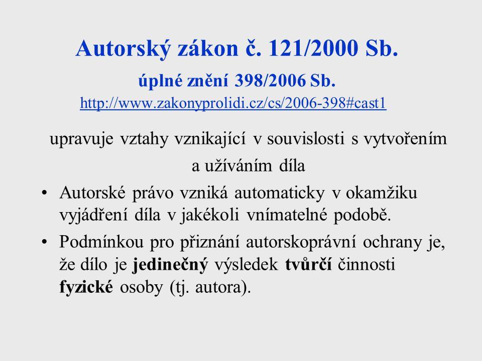 Autorský zákon č. 121/2000 Sb. úplné znění 398/2006 Sb. http://www.zakonyprolidi.cz/cs/2006-398#cast1 http://www.zakonyprolidi.cz/cs/2006-398#cast1 up