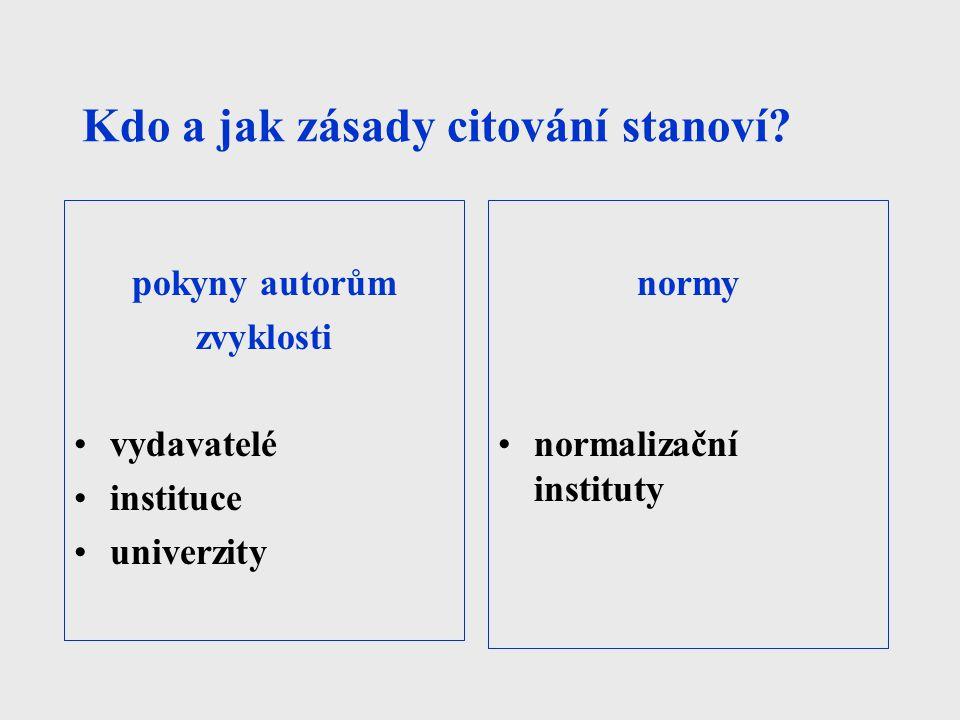 Kdo a jak zásady citování stanoví? pokyny autorům zvyklosti vydavatelé instituce univerzity normy normalizační instituty