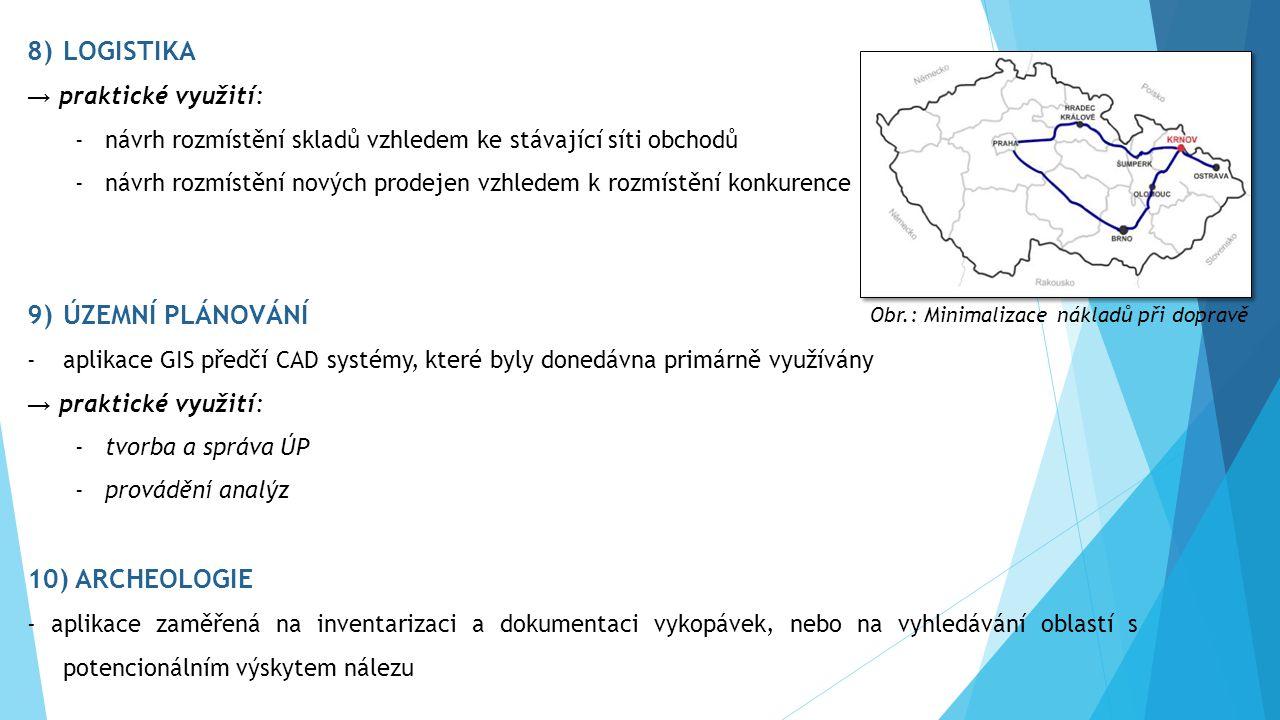 8)LOGISTIKA → praktické využití: -návrh rozmístění skladů vzhledem ke stávající síti obchodů -návrh rozmístění nových prodejen vzhledem k rozmístění konkurence 9)ÚZEMNÍ PLÁNOVÁNÍ -aplikace GIS předčí CAD systémy, které byly donedávna primárně využívány → praktické využití: -tvorba a správa ÚP -provádění analýz 10) ARCHEOLOGIE - aplikace zaměřená na inventarizaci a dokumentaci vykopávek, nebo na vyhledávání oblastí s potencionálním výskytem nálezu Obr.: Minimalizace nákladů při dopravě