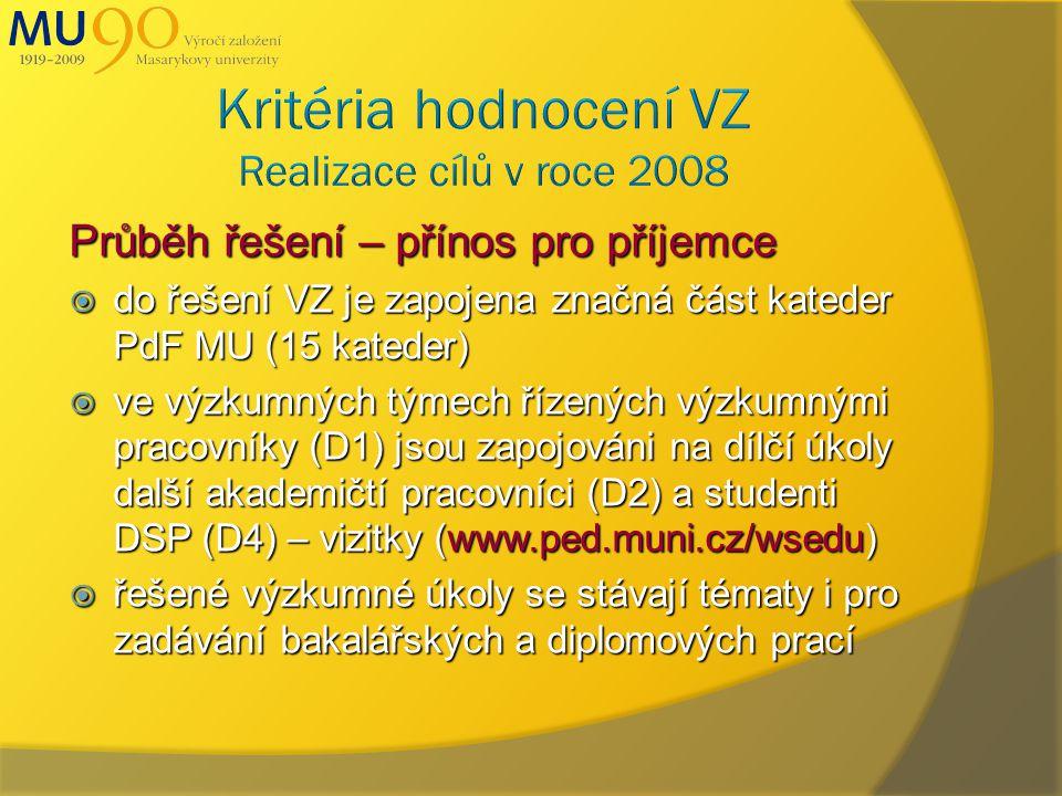 Průběh řešení – přínos pro příjemce  do řešení VZ je zapojena značná část kateder PdF MU (15 kateder)  ve výzkumných týmech řízených výzkumnými pracovníky (D1) jsou zapojováni na dílčí úkoly další akademičtí pracovníci (D2) a studenti DSP (D4) – vizitky (www.ped.muni.cz/wsedu)  řešené výzkumné úkoly se stávají tématy i pro zadávání bakalářských a diplomových prací