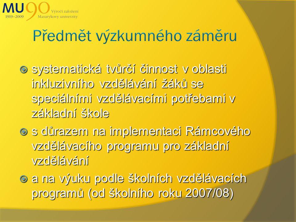  systematická tvůrčí činnost v oblasti inkluzivního vzdělávání žáků se speciálními vzdělávacími potřebami v základní škole  s důrazem na implementaci Rámcového vzdělávacího programu pro základní vzdělávání  a na výuku podle školních vzdělávacích programů (od školního roku 2007/08)