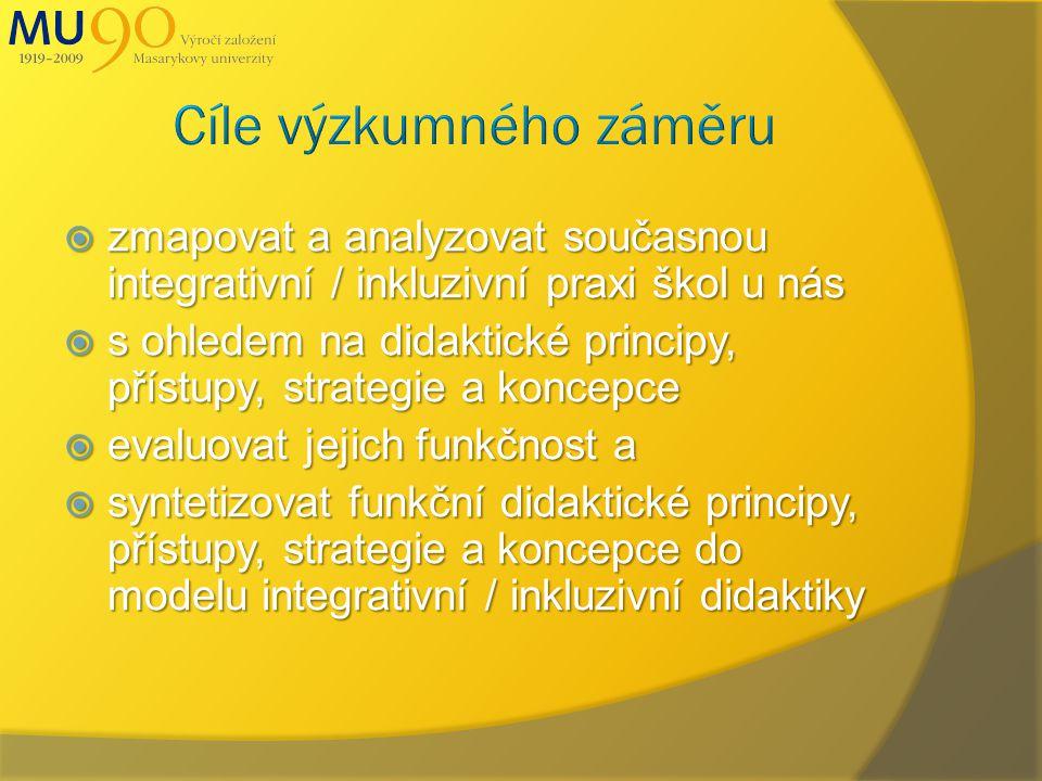  zmapovat a analyzovat současnou integrativní / inkluzivní praxi škol u nás  s ohledem na didaktické principy, přístupy, strategie a koncepce  evaluovat jejich funkčnost a  syntetizovat funkční didaktické principy, přístupy, strategie a koncepce do modelu integrativní / inkluzivní didaktiky
