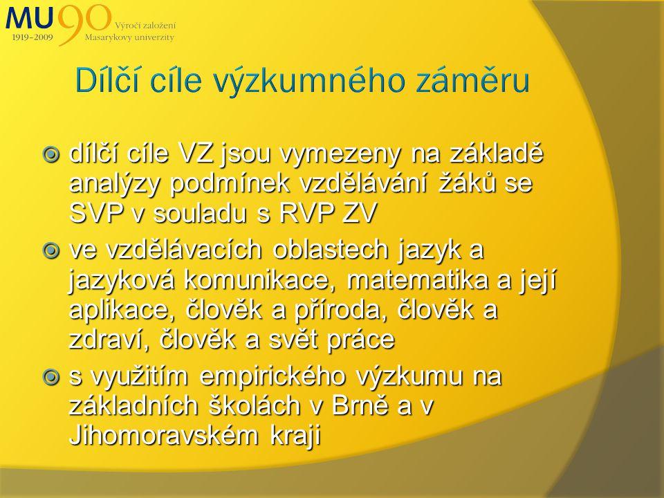  dílčí cíle VZ jsou vymezeny na základě analýzy podmínek vzdělávání žáků se SVP v souladu s RVP ZV  ve vzdělávacích oblastech jazyk a jazyková komunikace, matematika a její aplikace, člověk a příroda, člověk a zdraví, člověk a svět práce  s využitím empirického výzkumu na základních školách v Brně a v Jihomoravském kraji