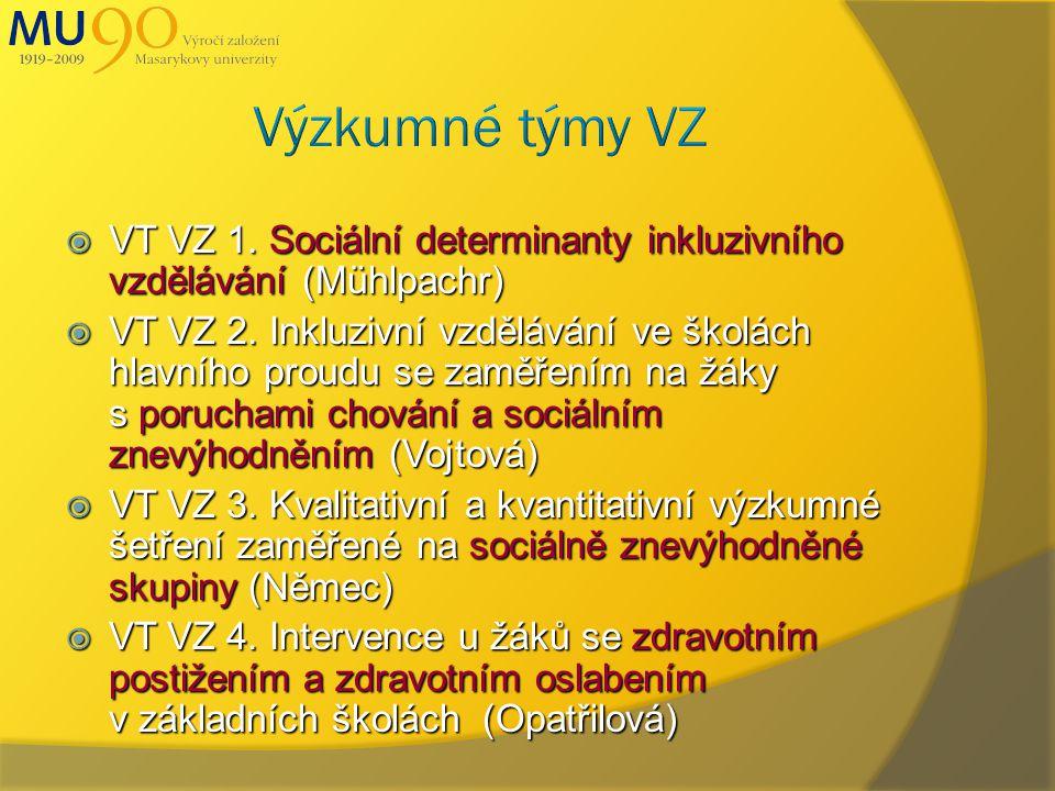  VT VZ 1. Sociální determinanty inkluzivního vzdělávání (Mühlpachr)  VT VZ 2.