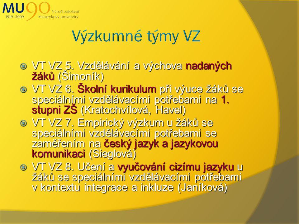  VT VZ 5. Vzdělávání a výchova nadaných žáků (Šimoník)  VT VZ 6.
