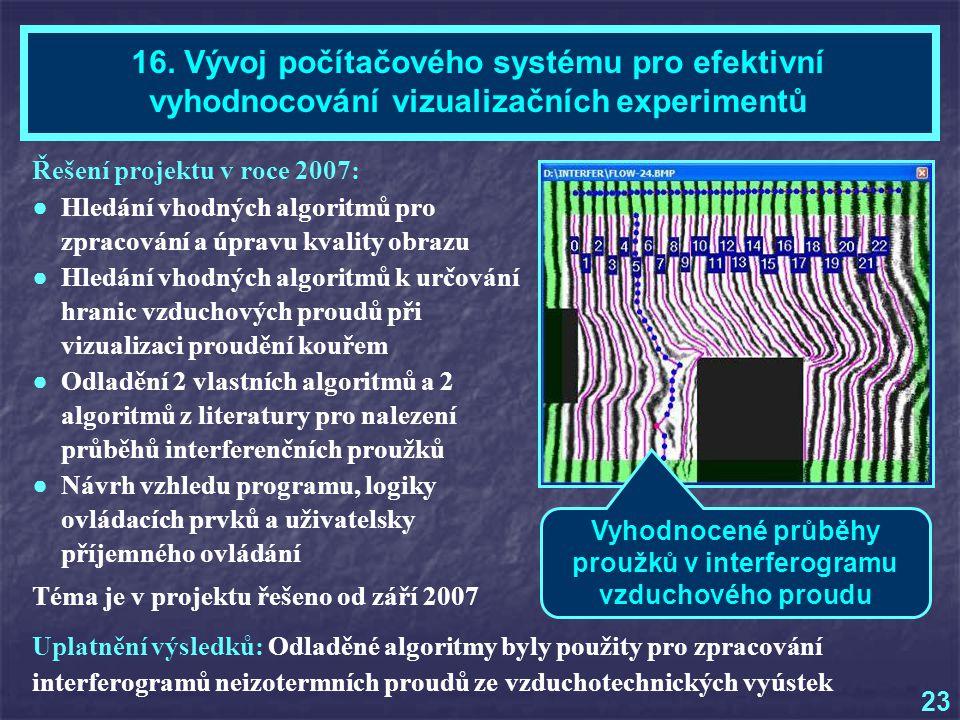 Řešení projektu v roce 2007: ● Hledání vhodných algoritmů pro zpracování a úpravu kvality obrazu ● Hledání vhodných algoritmů k určování hranic vzduchových proudů při vizualizaci proudění kouřem ● Odladění 2 vlastních algoritmů a 2 algoritmů z literatury pro nalezení průběhů interferenčních proužků ● Návrh vzhledu programu, logiky ovládacích prvků a uživatelsky příjemného ovládání Téma je v projektu řešeno od září 2007 Mgr.